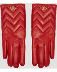 Gucci - Marmont Chevron Leather Gloves In Red - Lyst