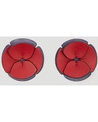 Marni - Leather Flower Earrings In Red - Lyst