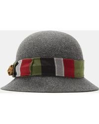 Gucci - Tapestry Ribbon Felted Bowler Hat In Grey - Lyst 3604c8e4b953