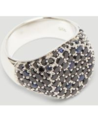 Tom Wood - Oval Black Spinel And Sapphire Signet Ring In Silver - Lyst