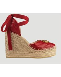 0c2d4f796 Gucci - GG Marmont Leather Platform Espadrilles In Red - Lyst