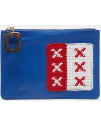 JW Anderson - Crochet Patch Leather Pouch In Blue - Lyst