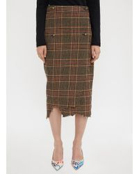Vetements - Wrapped Checked Pencil Skirt In Brown - Lyst