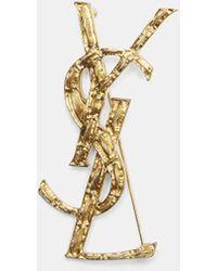 Saint Laurent - Opyum Ysl Interlocking Brooch In Gold - Lyst
