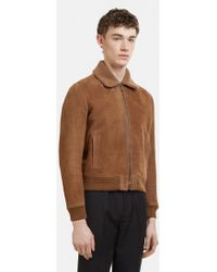 Saint Laurent | Shearling Teddy Aviator Jacket In Brown | Lyst