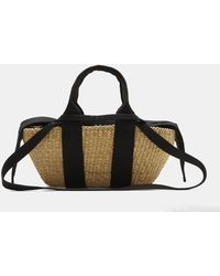 Muuñ - Mini George Basket Bag In Beige And Black - Lyst