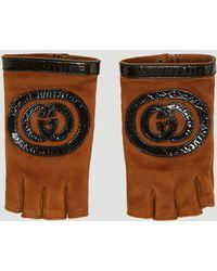 Gucci - Logo Suede Fingerless Gloves In Brown - Lyst