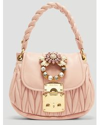 Miu Miu - Mini Coffer Crystal Buckle Leather Bag - Lyst