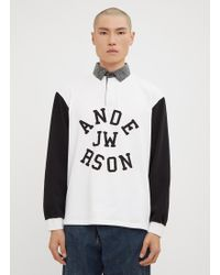 JW Anderson - Long Sleeve Rugby Polo In White - Lyst