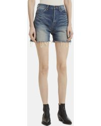 Saint Laurent - Cut-off Denim Shorts In Blue - Lyst