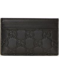 a75f3c4b3a9cd Lyst - Gucci Signature Leather Cardholder in Black for Men