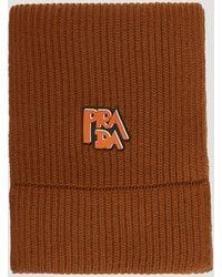 Prada Wool Ribbed Logo Scarf In Brown