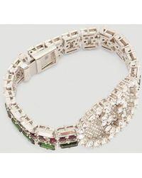 Gucci - Crystal Web Bracelet In Green - Lyst