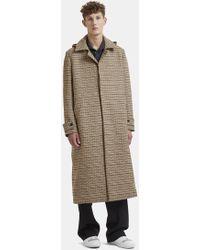 Sunnei - Detachable Hood Tartan Coat In Beige - Lyst