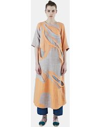 The Autonomous Collections - Women's Long Patchwork Dress In Orange And Grey - Lyst