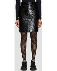 Gucci - Crocodile Print Leather Pencil Skirt In Black - Lyst