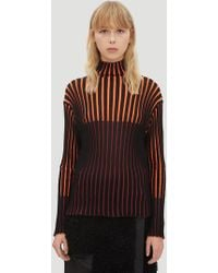 Pleats Please Issey Miyake - Chira Chira Ribbed Knit Turtle Neck Top In Black - Lyst