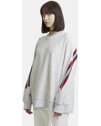 Facetasm - Asymmetric Striped Knit Embroidered Jumper In Grey - Lyst