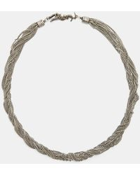 Saint Laurent - Loulou Twisted Chain Choker Necklace In Silver - Lyst