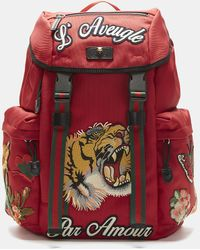 Gucci - Embroidered Canvas Backpack - Lyst