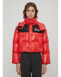 Miu Miu - Hooded Nylon Cropped Down Jacket - Lyst