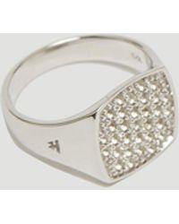 Tom Wood - Mini Cushion White Topaz Signet Ring In Silver - Lyst