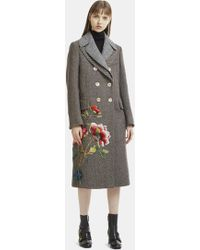 Gucci - Jewelled Floral Wool Coat In Grey - Lyst