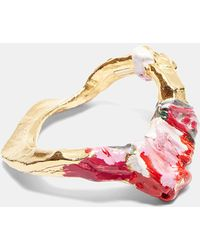 Acne | Aggy Painted Bangle In Gold, Pink And Grey | Lyst