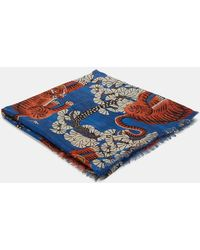 Gucci - Men's Bengal Tiger Jacquard Silk Modal Shawl In Blue, White And Orange - Lyst
