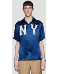 Gucci Ny Patch Bowling Shirt In Navy