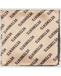 Vetements - Silk Monogram Scarf In Beige - Lyst