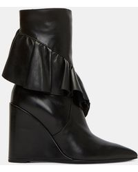 J.W.Anderson | Women's Wedged Ruffle Mid-calf Boots In Black | Lyst
