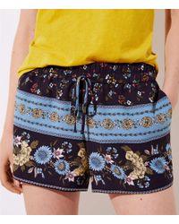 LOFT - Border Floral Fluid Drawstring Shorts - Lyst