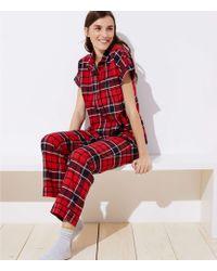 LOFT - Plaid Pajama Set - Lyst