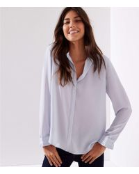 LOFT - Pearlized Pleated Cuff Utility Blouse - Lyst
