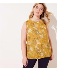 LOFT - Plus Floral Piped Mixed Media Shell - Lyst