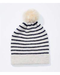 LOFT - Striped Faux Fur Pom Pom Hat - Lyst