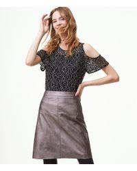 LOFT | Faux Leather Seamed Skirt | Lyst