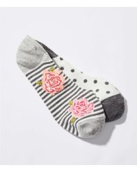 LOFT - Dot & Rose No Show Sock Set - Lyst