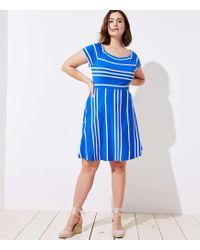 LOFT - Plus Striped Crossover Back Flare Dress - Lyst