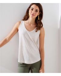 LOFT - Striped Scoop Neck Tank - Lyst