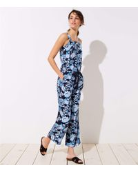 7a480060f43 Loft Tall Petaled Tie Back Jumpsuit in Black - Lyst