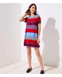 LOFT - Mixed Stripe Short Sleeve Swing Dress - Lyst