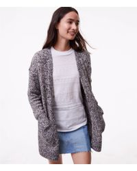 LOFT | Marled Patch Pocket Open Cardigan | Lyst