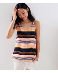 LOFT - Striped Bar Back Strappy Cami - Lyst