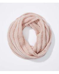 LOFT - Open Knit Stripe Infinity Scarf - Lyst