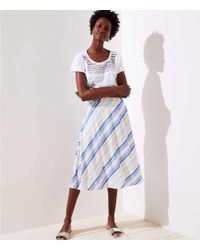 LOFT - Petite Striped Covered Button Skirt - Lyst