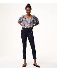 LOFT - Modern Sailor Skinny Jeans In Dark Rinse Wash - Lyst