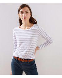 LOFT - Striped Button Cuff Long Sleeve Tee - Lyst