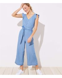 ae9869a390c2 Lyst - LOFT Lou   Grey Hotline Luster Off The Shoulder Jumpsuit in Blue